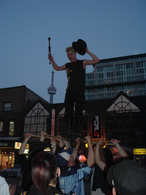 Lifted in street show