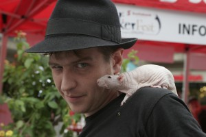 Magician in Toronto with rat